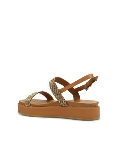 Divarese Divarese 5024423 Taba Taşlı Kadın Deri Sandalet Taba